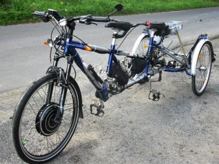tandemová tříkolka 500V/36V